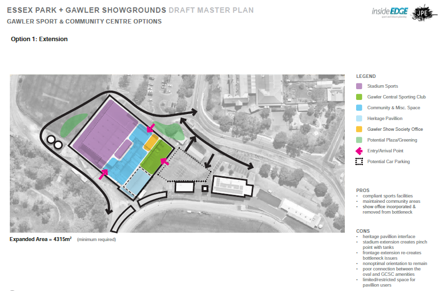Gawler Sport & Community Centre Option 1 - Extension